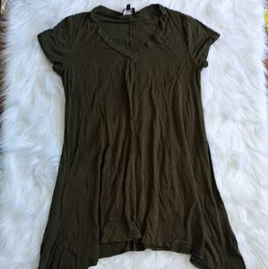 Poof Army Green Long Shirt Dress